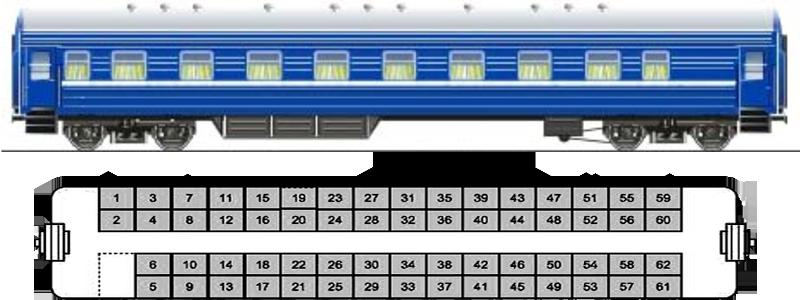 Сидячий вагон РЖД: схема расположения мест и фотографии 94